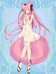 1girl animal_ears blue_eyes bow dairoku_youhei dress fox_ears fox_tail full_body hair_bow halterneck hands_together interlocked_fingers knees_together_feet_apart l_(matador) long_hair looking_at_viewer pink_hair pink_nails red_bow sandals simple_background smile solo standing tail very_long_hair white_dress wristband