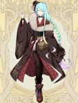 androgynous aqua_hair black_choker black_pants black_wristband braid choker closed_eyes dairoku_youhei facing_viewer fur_trim gradient_hair hand_up hat l_(matador) mini_hat multicolored_hair pants smile solo tilted_headwear wide_sleeves wristband