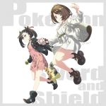 2girls alternate_costume belt boots border camisole choker coat commentary_request copyright_name double-breasted dress earrings eyelashes gen_8_pokemon green_eyes grey_border grin hand_up high_heel_boots high_heels highres holding holding_poke_ball jacket jewelry jumping leather leather_jacket looking_at_viewer mary_(pokemon) matsumoto_tomoki morpeko multiple_girls no_hat no_headwear open_clothes open_jacket poke_ball pokemon pokemon_(game) pokemon_swsh simple_background smile stud_earrings twintails white_background white_coat white_dress wristband yuuri_(pokemon)