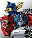 absurdres autobot exhaust_pipe gradient gradient_background highres insignia looking_to_the_side mecha no_humans obei_teitoku optimus_prime red_eyes robot transformers transformers_armada yellow_eyes
