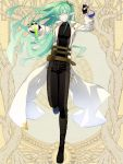 1boy belt belt_pouch black_pants boots dairoku_youhei elf full_body green_hair hair_over_one_eye hair_tie jacket knee_boots l_(matador) long_sleeves looking_at_viewer male_focus pants pointy_ears potion pouch simple_background smile solo standing standing_on_one_leg vial white_jacket yellow_background
