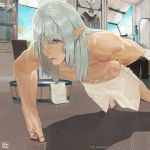 1boy arm_behind_back bangs barefoot chest copyright copyright_name day dripping elezen elf estinien exercise final_fantasy final_fantasy_xiv foreshortening grey_eyes grey_hair indoors lips long_hair male_focus muscle no_nipples official_art parted_bangs parted_lips pectorals pointy_ears push-ups shirtless shorts sidelocks solo sweat towel training white_shorts white_towel