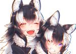 2girls absurdres animal_ears black_hair blue_eyes dual_persona eyebrows_visible_through_hair fur_collar gloves grey_wolf_(kemono_friends) hand_in_another's_hair heterochromia highres kemono_friends multicolored_hair multiple_girls one_eye_closed open_mouth simple_background st.takuma two-tone_hair white_background white_gloves wolf_ears wolf_girl yellow_eyes