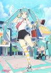 1girl bag black_shorts blue_choker blue_eyes blue_hair character_doll choker cloba day grin hatsune_miku highres long_hair looking_at_viewer off-shoulder_shirt off_shoulder outdoors shirt shoes shopping_bag short_shorts shorts single_bare_shoulder single_thighhigh smile sneakers solo_focus standing standing_on_one_leg striped striped_legwear thigh-highs twintails v very_long_hair vocaloid watch watch white_shirt