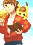 1boy book brown_eyes brown_hair commentary_request creature deerstalker detective_pikachu detective_pikachu_(character) detective_pikachu_(game) food gen_1_pokemon hat holding holding_book holding_food hot_dog kimimi_(kmm) male_focus on_shoulder open_book pikachu pokemon pokemon_(creature) pokemon_(game) pokemon_on_shoulder signature tim_goodman wating zipper