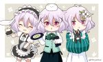 3girls :d :x ^_^ angora_rabbit animal animal_ears animal_hug animal_on_head anko_(gochiusa) antenna_hair apron bangs black_hairband black_skirt blush center_frills chestnut_mouth closed_eyes closed_mouth collared_shirt commentary_request crown eyebrows_visible_through_hair fake_animal_ears floppy_ears flower frilled_apron frilled_hairband frills green_kimono green_vest grey_background hair_between_eyes hair_flower hair_ornament hairband holding holding_tray japanese_clothes kimono kokkoro_(princess_connect!) long_sleeves looking_at_viewer maid_headdress menu miicha mini_crown multiple_girls multiple_persona on_head open_mouth parted_lips pink_hair princess_connect! princess_connect!_re:dive puffy_short_sleeves puffy_sleeves rabbit rabbit_ears rabbit_house_uniform shirt short_sleeves skirt sleeves_past_wrists smile striped thigh-highs tippy_(gochiusa) tray twitter_username two-tone_background vertical-striped_kimono vertical_stripes vest violet_eyes waist_apron white_apron white_background white_flower white_legwear white_shirt wide_sleeves wild_geese wrist_cuffs