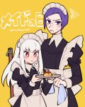1boy 1girl closed_mouth crossdressing do_m_kaeru fire_emblem fire_emblem:_three_houses food highres holding long_hair long_sleeves lorenz_hellman_gloucester lysithea_von_ordelia maid maid_headdress pink_eyes plate pudding purple_hair short_hair simple_background twitter_username violet_eyes white_hair yellow_background