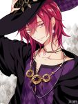 1boy argyle argyle_background bead_necklace beads black_headwear dairoku_youhei earrings flower_earrings grey_eyes hair_between_eyes hand_up jewelry l_(matador) looking_at_viewer male_focus necklace purple_shirt redhead shirt solo upper_body