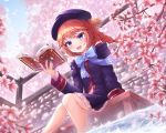 1girl :d absurdres bangs beret blue_bow blue_eyes blurry blurry_background blush book bow braid cherry_blossoms commentary_request day eyebrows_visible_through_hair flower from_below hat highres holding holding_book ichizon long_hair long_sleeves looking_at_viewer open_book open_mouth outdoors princess_connect! princess_connect!_re:dive redhead scenery sitting smile solo spring_(season) tree tree_branch water yuni_(princess_connect!)