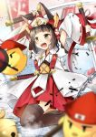 1girl :d animal_ear_fluff animal_ears arms_up azur_lane bangs banner bell bird black_hair black_legwear blurry_foreground blush chain chick commentary_request cowboy_shot detached_sleeves eyebrows_visible_through_hair flat_chest fox_ears hair_ornament hat helmet highres holding holding_sword holding_weapon japanese_clothes jewelry katana kimono looking_to_the_side magatama_print manjuu_(azur_lane) mutsu_(azur_lane) mutsu_(warring_states_warship)_(azur_lane) necklace open_mouth red_skirt ribbon-trimmed_sleeves ribbon_trim rice_hat sakuramon sheath sheathed short_hair short_sleeves sidelocks skirt smile solo_focus standing sword thigh-highs upper_teeth weapon white_background white_kimono white_sleeves wide_sleeves yellow_eyes yozuki_shokora zettai_ryouiki