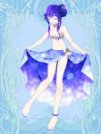 1girl anklet bangs barefoot blue_bow blue_nails blue_skirt bow closed_eyes dairoku_youhei facing_viewer full_body gradient_hair jewelry l_(matador) long_hair midriff multicolored_hair navel pale_skin purple_hair side_bun simple_background skirt skirt_hold smile snowflake_print solo standing unmoving_pattern white_bow