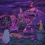 1girl 2boys animated animated_gif apple apple_core backpack bag baseball_bat baseball_cap black_hair blonde_hair blush_stickers bug building carpenter's_square clenched_teeth dress elchenco energy_gun fly food fruit frying_pan ghost grass handbag hat insect jeff_andonuts moon moonshen mother_(game) mother_2 multiple_boys ness paula_(mother_2) pink_dress pixel_art ray_gun red_eyes red_ribbon ribbon rocket sharp_teeth shirt shorts slime striped striped_shirt teeth tent toolbox tree weapon zombie