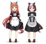 2girls :d alternate_costume animal_ears apron aqua_eyes black_neckwear bow bowtie brown_hair commentary_request enmaided eyebrows_visible_through_hair full_body hairband highres horse_ears horse_tail kumaji_(kumazidayo) long_hair long_sleeves maid multicolored_hair multiple_girls open_mouth orange_hair short_hair silence_suzuka simple_background skirt_hold smile special_week standing tail tray two-tone_hair umamusume v_arms violet_eyes waist_apron white_background white_hair younger