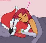 afrobull bed blanket blush covering_face gloves grey_background hat lying lying_on_person on_person on_stomach patreon_username pillow purple_hair raven_(dc) redhead santa_costume santa_hat sleeping starfire tagme teen_titans watermark yuri zzz