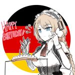 1girl ? blonde_hair blue_eyes candle commentary_request cooking english_text food g36_(girls_frontline) german_flag girls_frontline gloves happy_birthday icing korean_commentary madcore maid maid_headdress sausage skewer solo