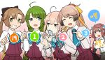 5girls ahoge akigumo_(kantai_collection) anniversary aqua_neckwear asagumo_(kantai_collection) bangs blush bow bowtie brown_hair closed_eyes commentary_request dress eyebrows_visible_through_hair glasses gradient_hair green_hair hair_ribbon holding holding_eyewear iwana jacket kantai_collection kazagumo_(kantai_collection) light_brown_hair long_hair makigumo_(kantai_collection) mole mole_under_mouth multicolored_hair multiple_girls open_mouth pink_hair ponytail purple_dress remodel_(kantai_collection) ribbon sidelocks simple_background skirt suspender_skirt suspenders translation_request upper_body white_jacket yuugumo_(kantai_collection)