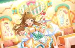 blush brown_hair dress green_eyes idolmaster_million_live!_theater_days long_hair makihara_shiho smile sweets wink
