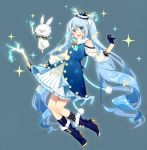 1girl :d antlers asagao_minoru bangs bare_shoulders blue_eyes blue_gloves blue_hair commentary_request dress frills full_body gloves half_gloves hat hatsune_miku highres light_blue_hair long_hair long_sleeves looking_at_viewer mini_hat mini_top_hat musical_note open_mouth rabbit_yukine see-through smile solo swept_bangs top_hat twintails very_long_hair vocaloid yuki_miku
