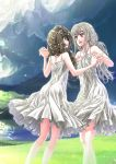 2girls ass braid breasts commentary_request copyright_name dancing dress english_text eyelashes fleur_de_lis grass grey_eyes hair_over_shoulder hand_up highres holding_hands lake legs lens_flare long_hair looking_at_another matsumoto_tomoki meadow mountain multiple_girls official_art outdoors red_eyes ruffled_skirt scrunchie seifuku_no_vampiress_lord shiraougi_nanase small_breasts smile spaghetti_strap sundress sunlight twintails white_dress white_hair wind yuri yuunagi_irie