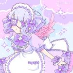 1girl apron bangs blush bow chachaco commentary dress eyepatch feathered_wings frills hair_bow light_blue_hair looking_at_viewer maid maid_day maid_headdress original pink_nails pink_wings puffy_sleeves purple_bow purple_dress purple_frills short_hair short_sleeves solo sparkle_background symbol-shaped_pupils violet_eyes wings yume_kawaii