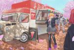 1boy 2girls ahoge backpack bag blonde_hair blue_eyes breasts cellphone cherry_blossoms collared_shirt contemporary crepe food food_truck grey_skirt ground_vehicle hair_between_eyes hair_ornament high-waist_skirt highres horns jacket large_breasts lightning_bolt lightning_bolt_hair_ornament lightning_bolt_print long_sleeves motor_vehicle multiple_girls necktie one_eye_closed open_clothes open_jacket outdoors phone pink_footwear pink_nails pleated_skirt pointy_ears redhead rinne_(xenoblade) self_shot shirt shoes short_hair signature skirt smartphone smile sneakers sou_(pale_1080) thigh-highs tongue tongue_out truck white_shirt xenoblade_(series) xenoblade_2 yuuou_(xenoblade) zakuro_(xenoblade) zettai_ryouiki