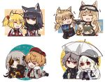 >_< 6+girls animal_ear_fluff animal_ears arknights bangs beret black_gloves black_jacket blonde_hair braid brown_hair cat_ears character_request closed_eyes closed_mouth commander_(girls_frontline) creepy_himecchi dog english_commentary expressionless eyebrows_visible_through_hair eyepatch girls_frontline gloves goggles goggles_on_head hair_between_eyes hair_ornament hat highres holding holding_weapon idw_(girls_frontline) jacket long_hair long_sleeves m16a1_(girls_frontline)_(boss) mod3_(girls_frontline) multicolored_hair multiple_girls necktie open_mouth orange_eyes orange_hair sangvis_ferri scar shirt silver_hair simple_background smile sora_(arknights) star streaked_hair texas_(arknights) transparent transparent_umbrella twintails umbrella upper_body weapon white_background white_jacket wolf_ears