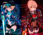 2girls absurdres ahoge artoria_pendragon_(all) bangs baseball_cap black_background black_coat black_leotard black_ribbon black_shorts blonde_hair blue_gloves blue_jacket blue_scarf blush bracer braid breastplate breasts coat covered_navel dual_wielding fate/grand_order fate_(series) french_braid gloves glowing glowing_sword glowing_weapon hair_between_eyes hair_ribbon hair_through_headwear hat highres himitsucalibur holding hood hood_down huge_filesize jacket jun_(aousa0328) leotard long_hair long_sleeves looking_at_viewer multiple_girls mysterious_heroine_x mysterious_heroine_x_(alter) navel open_clothes open_coat open_jacket ponytail ribbon rojiura_satsuki:_chapter_heroine_sanctuary scarf shorts simple_background small_breasts sword thighs weapon yellow_eyes