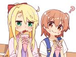 2girls ? ahoge blonde_hair blush bow brown_eyes brown_hair commentary crepe eating eyebrows_visible_through_hair food food_on_face green_eyes hair_bow highres himesaka_noa holding holding_food hoshino_hinata long_hair looking_at_another looking_at_viewer manse multiple_girls overalls pink_shirt red_bow shirt simple_background watashi_ni_tenshi_ga_maiorita! white_background white_shirt