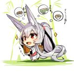 1girl :d absurdly_long_hair animal_ear_fluff animal_ears bamboo bamboo_shoot barefoot basket chibi commentary_request food fox_ears fox_girl fox_tail grey_hair highres holding japanese_clothes kimono long_hair long_sleeves looking_away obi open_mouth original patches ponytail red_eyes sash smile solo sparkle tail thought_bubble translation_request very_long_hair white_kimono wide_sleeves yuuji_(yukimimi)