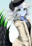 1girl :< black_horns black_sclera black_shirt black_wings blue_background blue_skin demon_girl demon_horns demon_wings dolores_(musuko_ga_kawaikute_shikatanai_mazoku_no_hahaoya) fur_coat fur_collar green_eyes horns houshi jacket looking_at_viewer messy_hair musuko_ga_kawaikute_shikatanai_mazoku_no_hahaoya shirt white_fur white_hair white_jacket wings