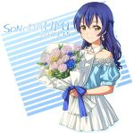 1girl bangs blue_hair blush bouquet braid character_name commentary_request corsetman dated detached_collar earrings flower hair_between_eyes holding holding_bouquet jewelry long_hair looking_at_viewer love_live! love_live!_school_idol_project short_sleeves simple_background smile solo sonoda_umi yellow_eyes