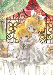 doll flower hair_ornament himehi kagamine_len kagamine_rin nail_polish siblings stuffed_animal stuffed_toy twins vocaloid window