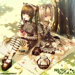 animal_ears bell blonde_hair blue_eyes bow brown_hair cake candy cat_ears cat_tail chocolat_(sayori) choker cross eating food food_themed_clothes gothic_lolita hair_bow hair_ornament hair_ribbon hair_ribbons hairclip hazel_eyes highres jingle_bell lolita_fashion long_hair multiple_girls original pastry ribbon ribbons sayori sitting slit_pupils striped striped_legwear striped_thighhighs tail tea thigh-highs thighhighs twintails vanilla_(sayori) yellow_eyes zettai_ryouiki
