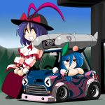 ^_^ blue_hair car chibi closed_eyes hat hinanawi_tenshi kieyza kiezya motor_vehicle nagae_iku purple_hair saturday_night_fever touhou vehicle