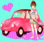 <3 1girl brown_hair car dada_(dolce) hair_ribbon hair_ribbons heart left-hand_drive motor_vehicle original ribbon ribbons short_hair vehicle washing