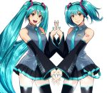 2girls aqua_eyes aqua_hair detached_sleeves hatsune_miku headphones holding_hands kanata_(loser51) long_hair multiple_girls nail_polish necktie open_mouth short_hair skirt symmetry thigh-highs twintails very_long_hair vocaloid