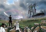 clouds huge_sword huge_weapon kyan-dog mecha original rainbow rock rocks ruins sky sword weapon