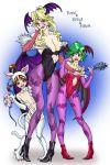 cosplay demon_girl felicia felicia_(cosplay) final_fantasy final_fantasy_iv legs lilith_aensland lilith_aensland_(cosplay) morrigan_aensland morrigan_aensland_(cosplay) pantyhose porom print_pantyhose purple_legwear purple_pantyhose rosa_farrell rydia shuninshunin succubus thighs vampire_(game)
