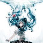 1girl aqua_hair bottle_miku character_name closed_eyes fish floating_hair hair_ribbon hatsune_miku liquid_hair long_hair navel revision ribbon school_uniform serafuku shima_0718 skirt solo twintails very_long_hair vocaloid water