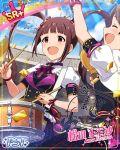 blush brown_hair character_name dress drum idolmaster idolmaster_side-m long_hair matsuda_arisa red_eyes smile twintails