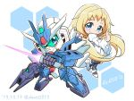 1girl 2019 back-to-back bangs beam_saber blonde_hair blue_eyes chibi dated dress earthree_gundam eve_(gundam_build_divers_re:rise) gun gundam gundam_build_divers gundam_build_divers_re:rise hexagon mecha shokkaa_(shmz61312) weapon white_dress