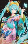 1girl alternate_hairstyle aqua_hair aqua_nails bangs beads black_background blue_butterfly blue_eyes blurry bug butterfly floral_print geisha glowing_butterfly hair_ornament hair_stick hakusai_(tiahszld) hand_up hatsune_miku highres insect long_hair looking_away looking_to_the_side nihongami obi parted_lips reaching sash sayagata seigaiha solo standing twintails very_long_hair vocaloid