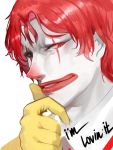 1boy chin_stroking clown dokomon english_text face facepaint gloves grin half-closed_eyes hand_on_own_chin highres looking_at_viewer male_focus mcdonald's medium_hair parted_lips red_eyes ronald_mcdonald sidelocks smile solo white_skin wing_collar