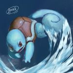 blue_background blue_theme brown_eyes claws commentary_request creature fangs full_body gen_1_pokemon highres jyunhh no_humans pokemon pokemon_(creature) signature simple_background solo squirtle water