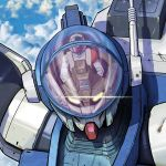 1boy aoki_ryuusei_spt_layzner asuka_eiji camera clouds cockpit glass_cockpit glowing glowing_eyes highres layzner mecha neo_(neo-log) pilot_suit robot rust sky yellow_eyes