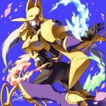 1girl armor ass belt black_bodysuit blue_background bodysuit boots breasts covered_eyes cowboy_shot digimon facial_mark fox_mask gloves high_heels highres holding holding_staff large_breasts lipstick long_hair looking_at_viewer low-tied_long_hair low_twintails makeup maplo mask open_hand purple_legwear purple_lipstick sakuyamon shoulder_armor signature silver_hair simple_background solo spirit staff twintails twisted_torso very_long_hair yellow_armor yin_yang yin_yang_print