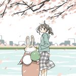 1girl animal brown_hair cherry_blossoms clothed_animal dango east_sha2 food from_side highres holding holding_food hood hoodie original outdoors plaid plaid_skirt ponytail rabbit skirt skyline solo sweater wagashi water