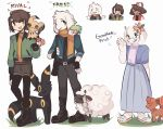 boots charamells commentary creature crossover english_commentary flower gracidea hair_flower hair_ornament holding holding_poke_ball pants poke_ball poke_ball_(generic) pokemon pokemon_(creature) simple_background standing white_background
