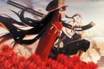 1girl black_hair black_headwear black_pants blurry cape chain clouds cloudy_sky commentary cowboy_shot day depth_of_field fate/grand_order fate_(series) flower from_side gloves gun hair_between_eyes hat highres katana long_hair looking_at_viewer military military_hat military_uniform oda_nobunaga_(fate) oda_nobunaga_(fate)_(all) open_mouth outdoors over_shoulder pants peaked_cap profile red_cape red_eyes rifle sitting sky smoke solo sword uniform weapon weapon_over_shoulder white_gloves wings ziu