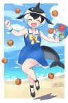 1girl bag bare_shoulders black_bow black_footwear black_hair blonde_hair blue_dress blue_hair blush bow bowtie closed_eyes collarbone commentary_request common_dolphin_(kemono_friends) dolphin_tail dorsal_fin dragon_ball_(object) dress eyebrows_visible_through_hair fanta_(the_banana_pistols) frilled_dress frills full_body handbag highres japari_symbol kemono_friends light_blue_hair multicolored_hair open_mouth sailor_collar sailor_dress shoe_bow shoes short_hair signature sleeveless sleeveless_dress solo wallet white_frills wristband yellow_neckwear